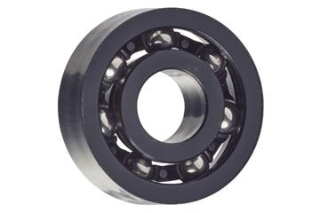 xiros® radial deep groove ball bearing, xirodur S180, stainless steel balls, cage made of PA, mm
