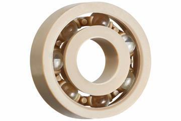 xiros® radial deep groove ball bearing, xirodur A500, glass balls, cage made of PEEK, mm