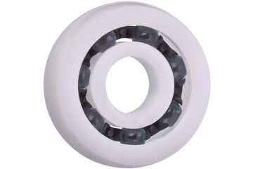 xiros® radial ball bearings, spherical outer diameter, xirodur B180, glass balls, cage made of PA, mm